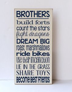 Look at this Vinyl Crafts Cream & Navy 'Brothers Build Forts' Wall Sign on today! Shared Boys Rooms, Baby Boy Rooms, Baby Boy Nurseries, Kids Rooms, Boy Bedrooms, Teen Bedroom, Baby Boys, Plywood Furniture, Bedroom Furniture