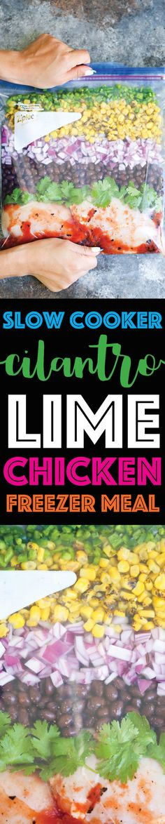 Slow Cooker Cilantro Lime Chicken - Stock your freezer with the easiest, quickest crockpot FREEZER MEAL!!! Simply drop into the crockpot and you're set!!! (Slow Cooker Chicken)