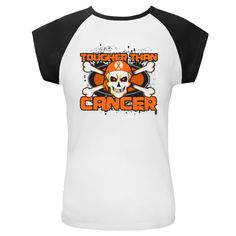 Leukemia TOUGHER THAN CANCER Cap Sleeve T-Shirts spotlighting a cool skull design with crossbones and wearing a headscarf featuring an awareness ribbon to advocate for the cause by AwarenessRibbonColors.Com