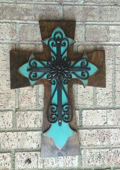 Wood Cross - Turquoise Wall Cross - Large Wood Wall Cross - Home Decor Mosaic Crosses, Wooden Crosses, Wall Crosses, Turquoise Walls, Cross Wall Decor, Rustic Cross, Cross Art, Scroll Saw, Diy Canvas