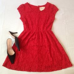 COINCIDENCE AND CHANCE dress Beautiful, pinkish red, lacy, playful. 90% cotton. So cute. Pit to pit - 17 inches, length - 32 Coincidence and chance Dresses