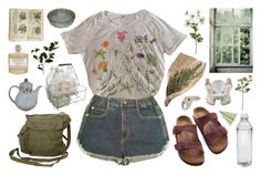 """""""The flower shop is closed for today """" by mothiemoo ❤ liked on Polyvore featuring Manoush, Urban Renewal, Birkenstock, Nach, GAS Jeans, Crate and Barrel, Library of Flowers, Wyld Home and vintage"""