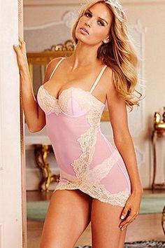 Floral Lace Applique Pink Valentine Bustier