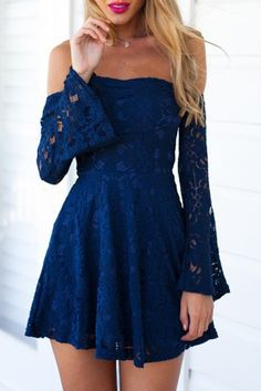 Blue Lace Off The Shoulder Flare Dress