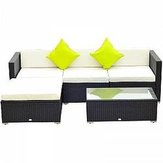IN STOCK: best prices on Outsunny Rattan Furniture Set Garden Sectional Wicker Sofa Tea Table - Black - choose between 172 Garden dining set Rattan Garden Furniture Sets, Sectional Patio Furniture, Garden Sofa Set, Outdoor Furniture Chairs, Garden Dining Set, Outdoor Tables And Chairs, Furniture Dining Table, Dining Sets, Corner Sofa Outdoor