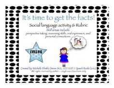 Free! Social language time to get the facts, activity and rubric