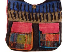 Amazon.com: Bohemian Patchwork Hippie Multi Pocketed Crossbody Bag Shoulder Purse Handmade in Nepal Fair Trade By Ragged Ends (Black): Clothing