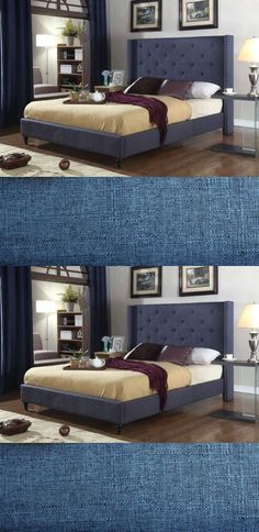 Beds and Bed Frames 175758: Full Queen King Twin Size Platform Blue Bed Frame Slats Upholstered Headboard -> BUY IT NOW ONLY: $269 on eBay!