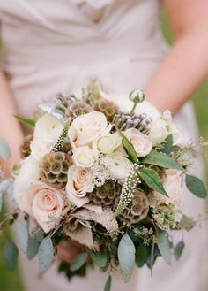 Love this but with garden roses and pops of yellow billy balls. Maybe some feathers and burlap