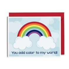 Colorful Rainbow Card from Tickled Peach Studio // Greeting Cards for Kids // Rainbow Love Greeting Card
