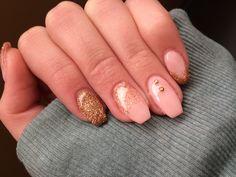 nails by Amanda #gelnails #fall #coffin #ideas #gold #pink