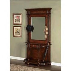 Powell Furniture Masterpiece Faux Medium Mahogany & Floral Hall Tree with Umbrella Stand Powell Furniture, Deco Furniture, Antique Furniture, Accent Furniture, Entryway Hall Tree, Entryway Decor, Entryway Ideas, Antique Hall Tree, Antique Coat Rack
