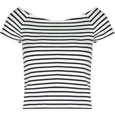 Tally Weijl Stripe Bardot Tee ($13) ❤ liked on Polyvore featuring tops, t-shirts, shirts, striped shirt, white t shirt, white stripes t shirt, white striped shirt and white shirt