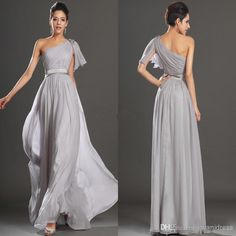 Gray One Shoulder Long Chiffon Bridesmaid Dress Formal Evening Gowns Beach Wedding Dresses Poet Sleeve Ruched Evening Dresses, $85.44 | DHgate.com