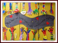 back to school bulletin boards pinterest | Back to School Hand Art in Kindergarten via RainbowsWithinReach