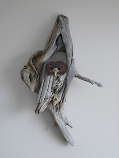 driftwood owl wall sculpture | Driftwood sculpture with ebon… | Flickr
