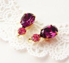 Purple Amethyst & Rose Pink Rhinestone Drops or Connector Brass Settings by alyssabethsvintage on Etsy