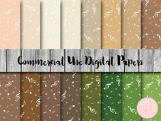 dp67 brown beige green musical digital papers