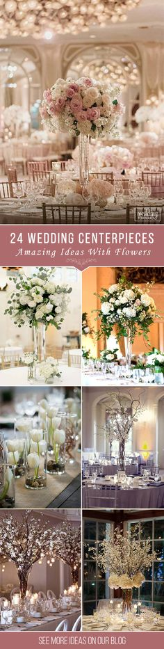 24 Amazing Wedding Centerpieces With Flowers ❤ See more: http://www.weddingforward.com/wedding-centerpieces/ #weddings #decorations