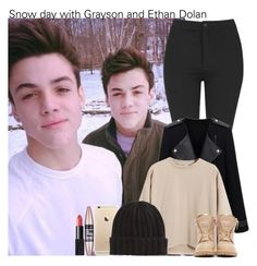 """Snow day with Grayson and Ethan Dolan"" by irish26-1 ❤ liked on Polyvore featuring Dolan, Topshop, Chicnova Fashion, Balmain, Maybelline and NARS Cosmetics"