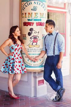 Vintage disney engagement photoshoot
