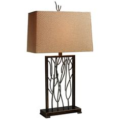 Modern Table Lamp with Brown Shade in Aria Bronze and Iron Finish | D1518 | Destination Lighting