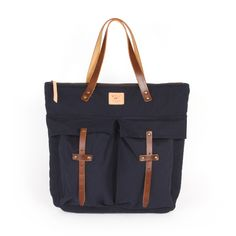canvas and leather zippered tote bag / will leather goods, eugene, oregon