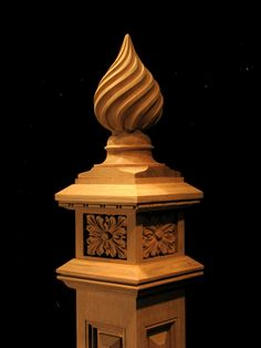 Wood Carved Twist Finial