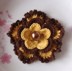 Crochet Flower in 3  inches in Yellow Brown  YH  ♥ by YHcrochet, $2.80