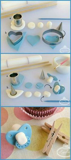 Fondant tutorial Baby shower cake / cupcake decorations Pacifier, binky