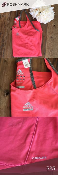 Adidas climacool Tank NWOT beautiful peachy pink, never worn Adidas climacool workout tank! Love this tank! Bought it, brought it home ripped tags off and haven't worn it since 😩 such a light and cool workout tank sure to get compliments on! Love how soft and comfortable it it! Size small and made of 84%polyester and 16% spandex🤗 these pair perfectly with the Nike shorts in my closet ! ✨ Adidas Tops