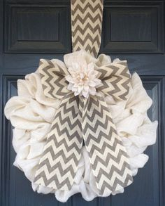 """Spring CLASSIC! Burlap Wreath, Grey, Taupe Chevron Wreath 25"""" x 25"""" with Creme Burlap Flower Adornment, Easter Wreath, Mothers Day Wreath"""