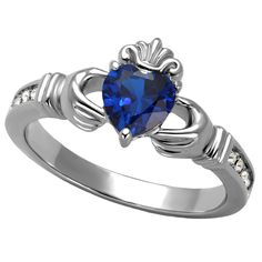Aine: 0.87ct Simulated Blue Sapphire Gemstone Claddagh Promise Ring - Trustmark Jewelers