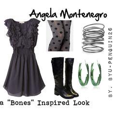 Angela Montenegro (Bones) Inspired Look by byu-penguin26 on Polyvore featuring Rebecca Taylor, Bottega Veneta and Roberto Cavalli