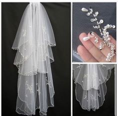 Brand New Beads Pearls White/Ivory 2T Wedding Veil Bridal Veil with Comb