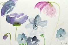 Рисуем фантазийные цветы акварелью