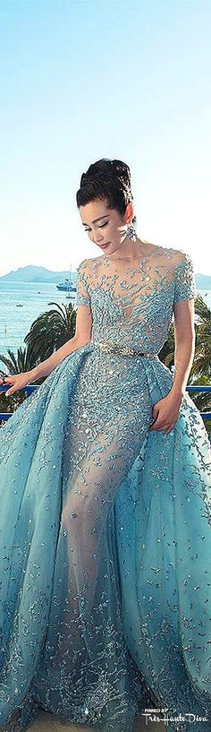 Li Bingbing Spring 2015 Couture Cannes Film Festival Red Carpet Celebrity Dresses Blue Evening Prom Dresses FM1028
