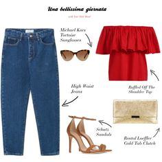 Una bellissima giornata by yourstylemood on Polyvore featuring WithChic, Schutz, Loeffler Randall, Michael Kors, jeans, outfitoftheday, polyvorecontest and redtop