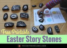 Learn how to make Easter Story Stones, a great way to teach kids the Bible Easter stories during Holy Week along with our free printable sequencing page.