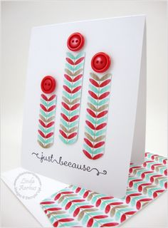 handmade card ... clean and simple ... leaf columns cut from patterned paper ... button at the tops ... quick card ... great design ... Stampin' Up!