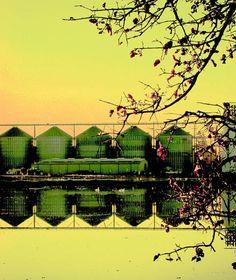 Industrial Photo Landscape Print Yellow Decor by EyeSeePhoto, $17.00