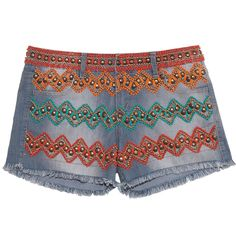 Short jeans bordado étnico