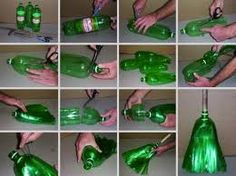ummmmmm heaven on a stick for me.Make a Broom with recycled plastic pop bottles! Reuse Plastic Bottles, Plastic Bottle Crafts, Recycled Bottles, Plastic Recycling, Pet Recycling, Green Recycling, Water Bottle Crafts, Recycled Tires, Plastic Items