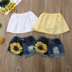 Solid Tube Top W/ Sunflower Print Ripped Denim Shorts Girls Summer Outfits, Cute Baby Girl Outfits, Toddler Outfits, Kids Outfits, Cute Outfits, Baby Girl Fashion, Kids Fashion, Ripped Denim, Ripped Shorts