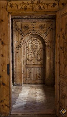 Wooden carved door in Zakopane Style, The Museum of the Zakopane Style. Zakopane, Tatra Mountains, Poland