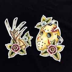 Friday the 13th Jason Voorhees and Freddu Kreuger Nightmare on Elm Street Tattoo Flash Hand Cut Stickers by Michelle Coffee