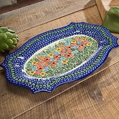 Polish Stoneware Oblong Platter in Holiday 2012 from Artisan Table