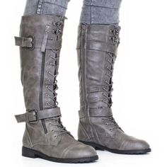 Womens Knee High Lace Up Military Army Combat Boots Size 3 8 | eBay