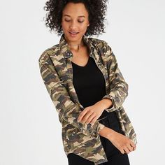 AE Oversized Camo Shirt Jacket ($60) ❤ liked on Polyvore featuring outerwear, jackets, green, green shirt jacket, oversized camo jacket, cotton shirt jacket, green camo jacket and green jacket