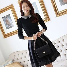 [XmasSale]Women'S Stylish Pan Collar Pleats Dress with Belt